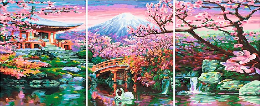Купить Картина по номерам «Цветущая вишня», Paintboy (Premium), Китай, 3 шт. 40x50 см, PX5227