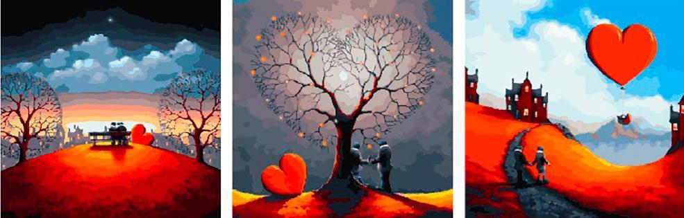 Купить Картина по номерам «Пара под деревом-сердцем», Paintboy (Premium), Китай, 3 шт. 50x50 см, PX5250