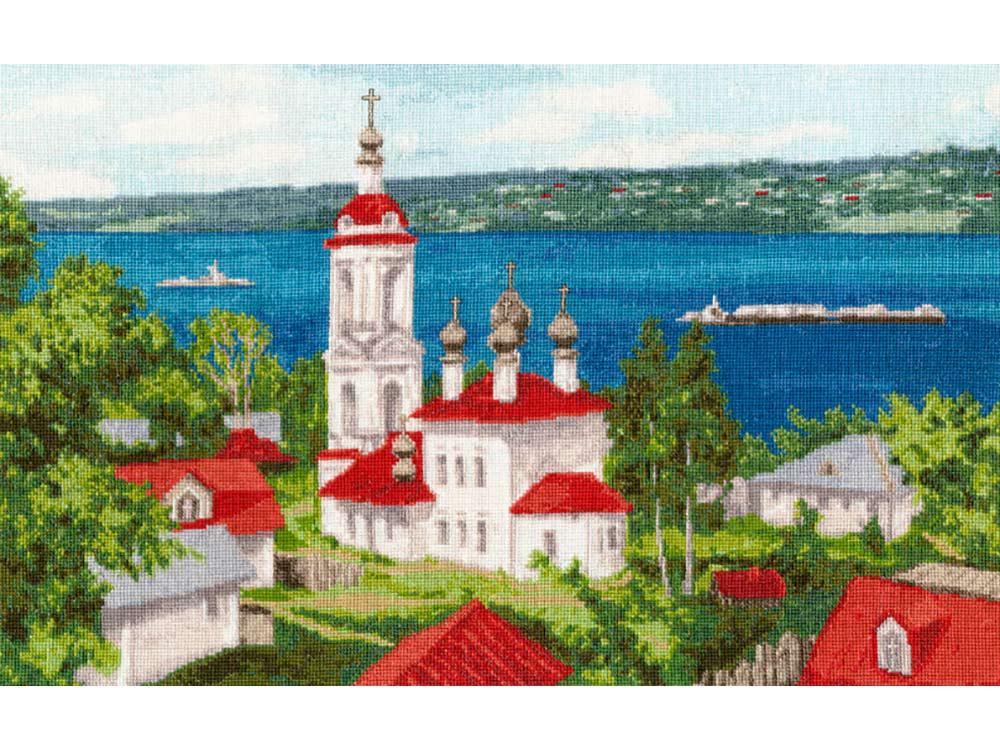 Купить Вышивка крестом, Набор для вышивания «Плес. Храм над Волгой», Золотое Руно, 28x45, 5 см, РП-014