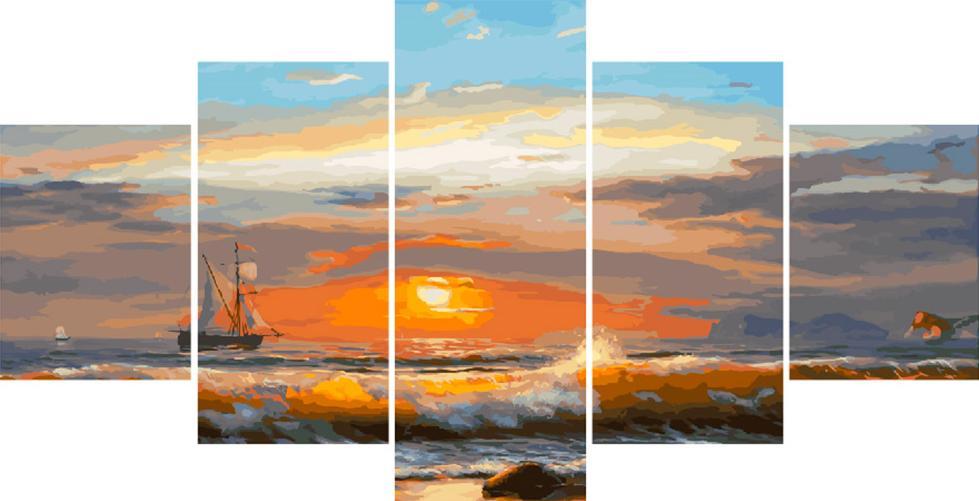 Купить Картина по номерам «Парусник вдалеке», Paintboy (Premium), Китай, 2 шт. 30x40 и 30x60 см; 1 шт. 30x80 см, WX1018