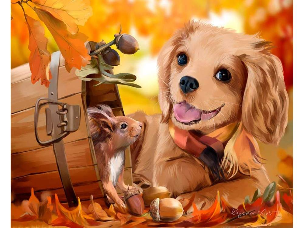 Открытки собаки нарисованные