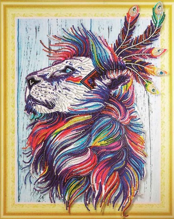 Купить Алмазная вышивка 5D «Индийский лев», Painting Diamond, 40x50 см, LP027