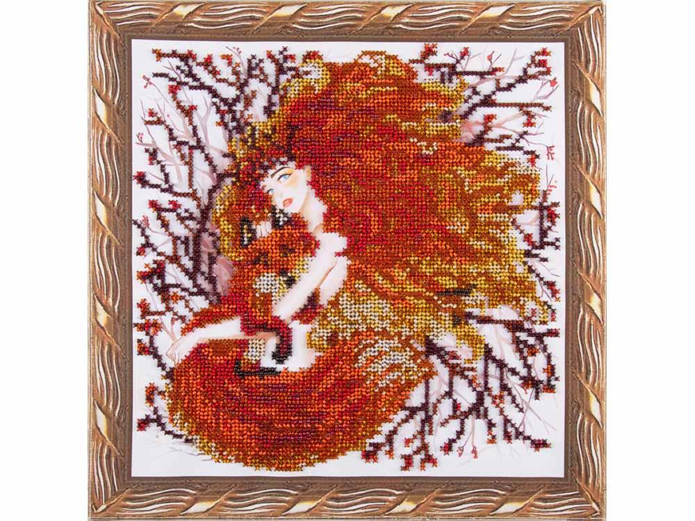 Купить Вышивка бисером, Набор вышивки бисером «Девушка с лисичкой», Color KIT, 30x30 см, OP009