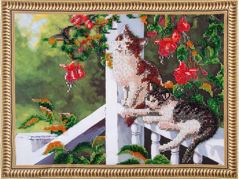 Купить Вышивка бисером, Набор вышивки бисером «Котята в саду», Color KIT, 30x40 см, VS022