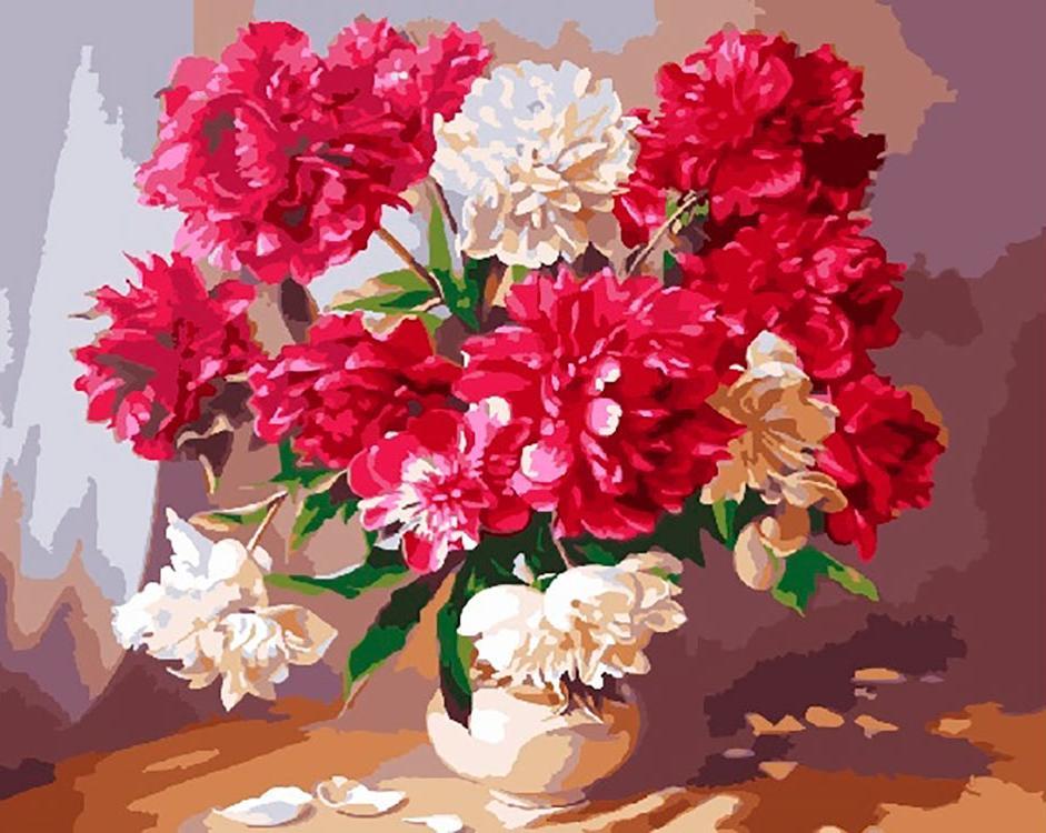 Картина по номерам «Пионы в вазе», Paintboy (Premium), GX3715  - купить со скидкой