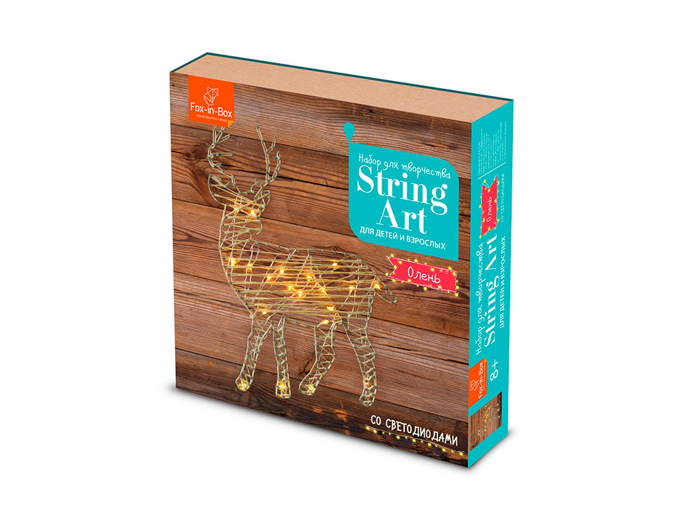 Купить Набор для творчества STRING ART «Олень» (с гирляндой), FOX-IN-BOX, 20x20 см, FB606307