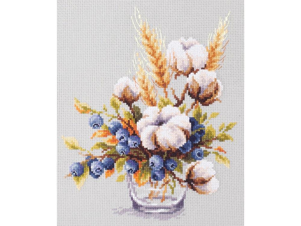 Купить Вышивка крестом, Набор для вышивания «Хлопок и черника», Чудесная игла, 18x23 см, 100-013