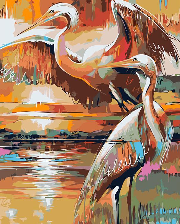 Купить Картина по номерам «Цапли на закате», Живопись по Номерам, Китай, A463