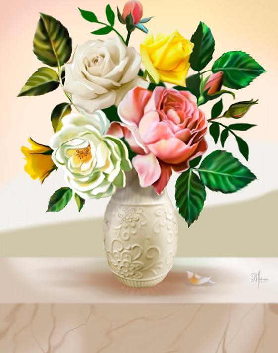 Купить Алмазная вышивка «Букет из роз», Алмазное Хобби, Россия, 30x40 см, Ah5329