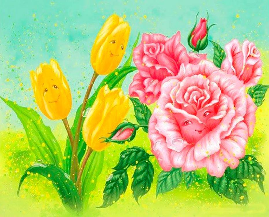 Купить Картина по номерам «Тюльпан и роза», Paintboy (Premium), Китай, EX6018