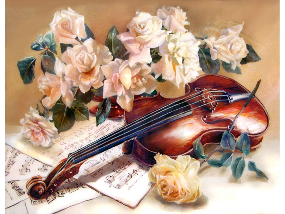 Картинки скрипка с розами
