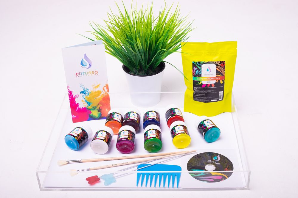 Купить Набор для студии эбру 10 цветов, лоток оргстекло А3, Ebrusso, EBR38