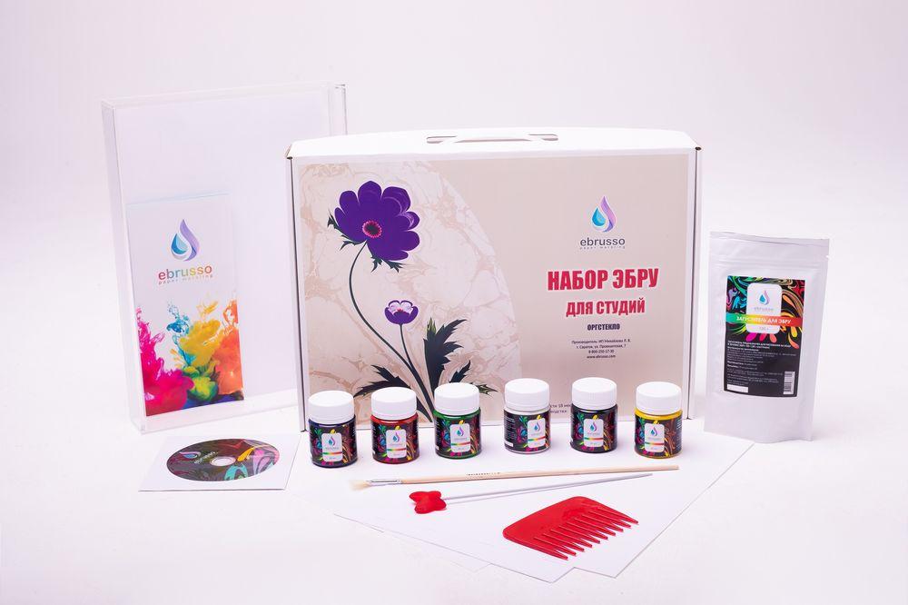 Купить Набор для студии эбру 6 цветов, лоток оргстекло А4, Ebrusso, EBR35