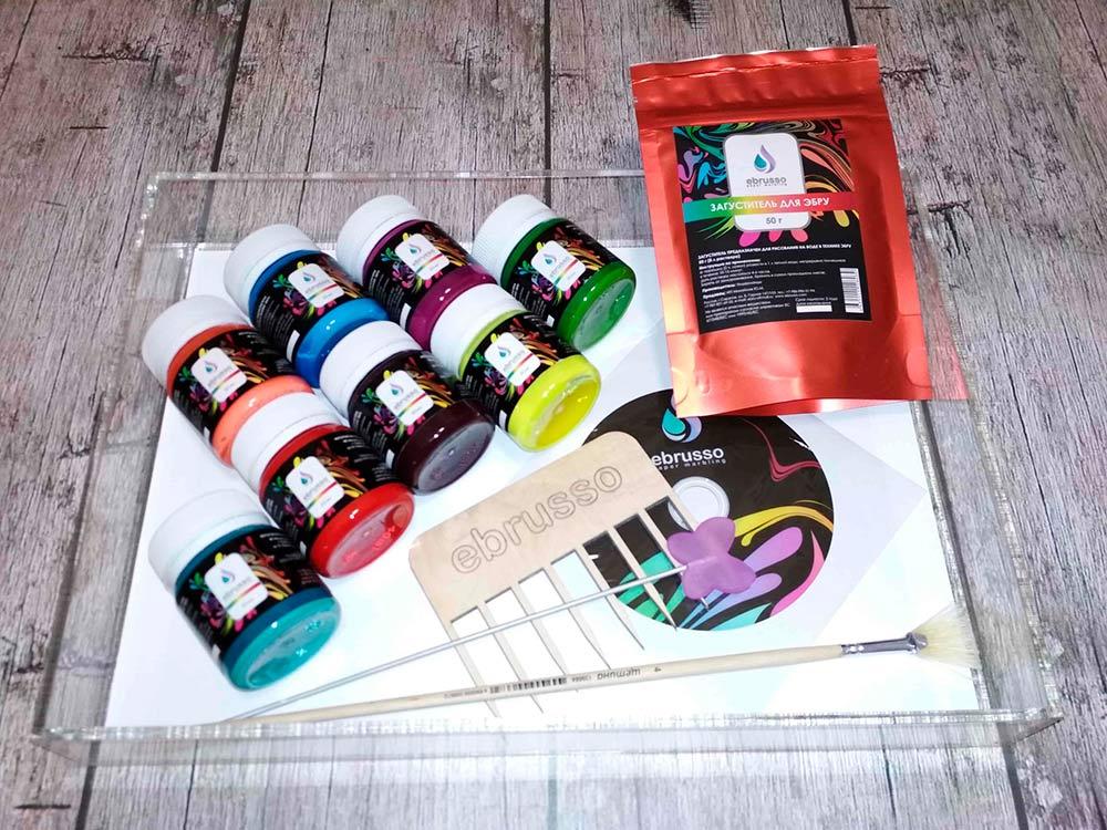Купить Набор для студии эбру 8 цветов, лоток оргстекло А4, Ebrusso, EBR36