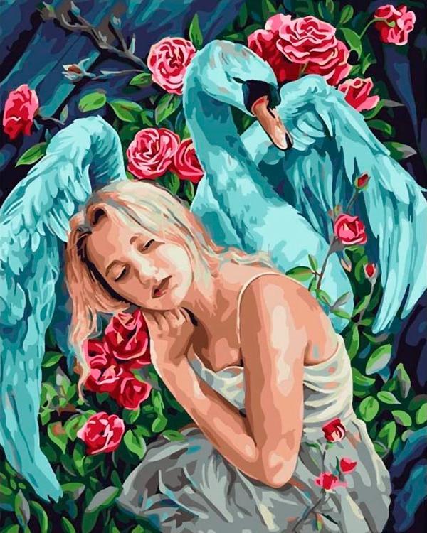 Купить Картина по номерам «Девушка. Лебедь. Розы», Paintboy (Original), GX26297_R