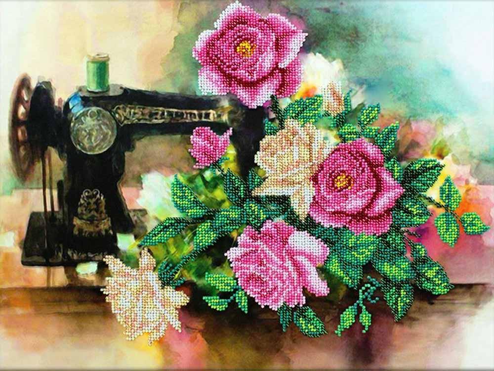 Купить Вышивка бисером, Набор вышивки бисером «Розы для рукодельницы», Паутинка, 38x28 см, Б-1286