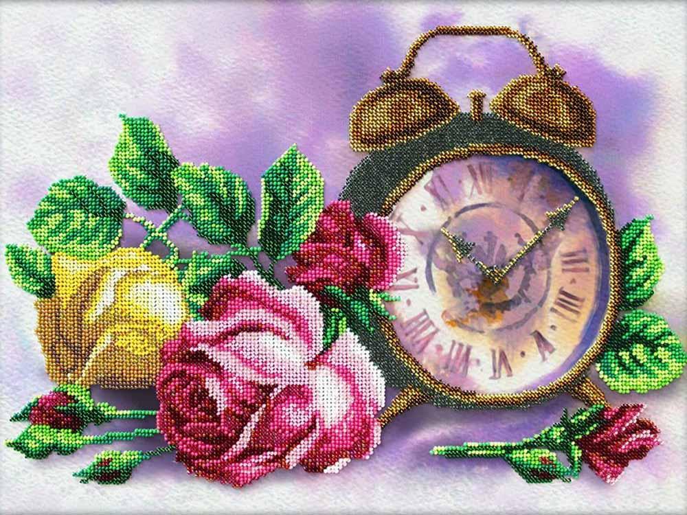 Купить Вышивка бисером, Набор вышивки бисером «Розовый час», Паутинка, 38x28 см, Б-1287