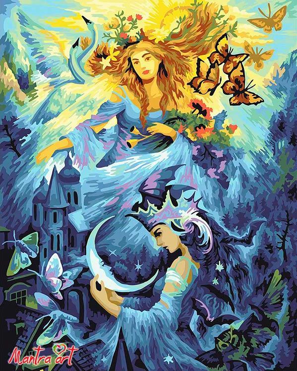 Купить Картина по номерам «День и ночь» + в наборе подарок, Mantra Art, Россия, 5004