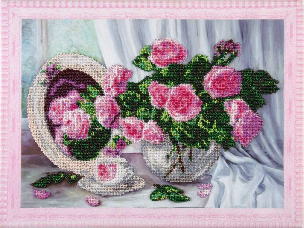 Купить Вышивка бисером, Набор вышивки бисером «Розовые розы», Color KIT, 30x40 см, VS012