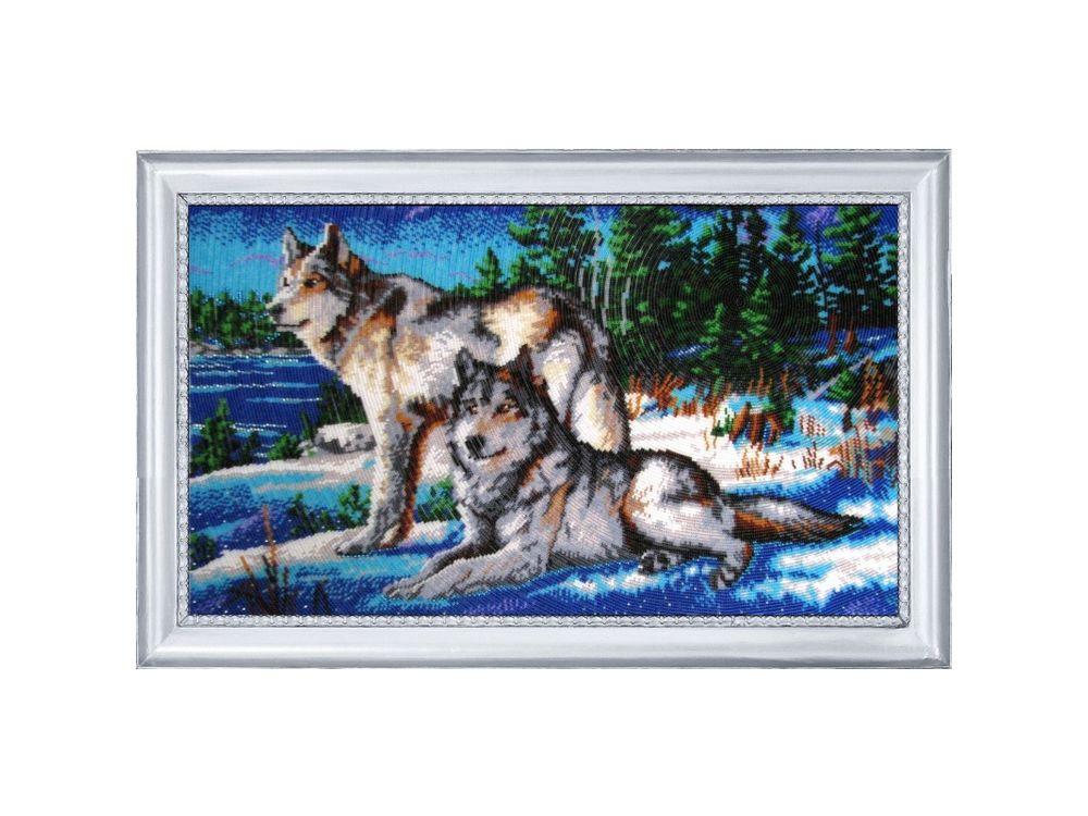 Купить Вышивка бисером, Набор для вышивания бисером «Волки 2», Butterfly, 31x53 см, 584