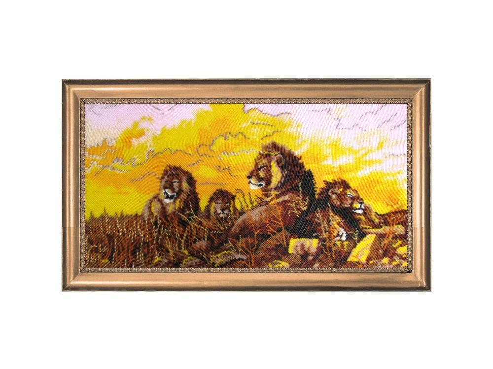 Купить Вышивка бисером, Набор для вышивания бисером «Львы», Butterfly, 29x57 см, 588