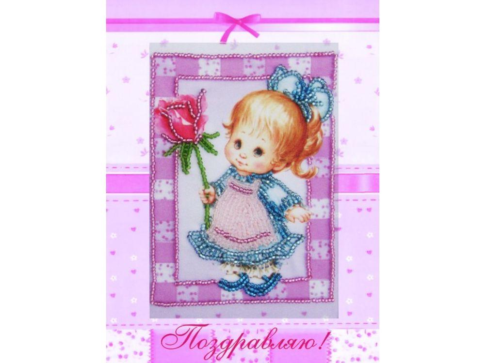 Купить Вышивка бисером, Набор для вышивания бисером «Девочка с розой», Butterfly, 18x14 см, 736