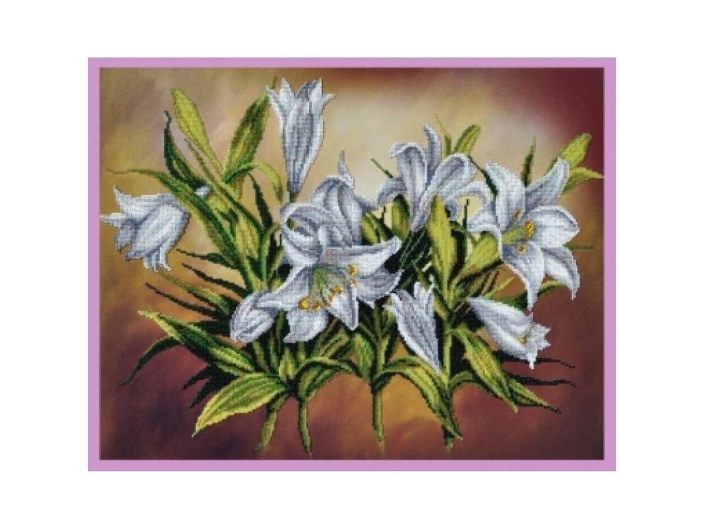 Купить Вышивка бисером, Набор для вышивания бисером «Белые лилии», Картины Бисером, 50x39 см, Р-232