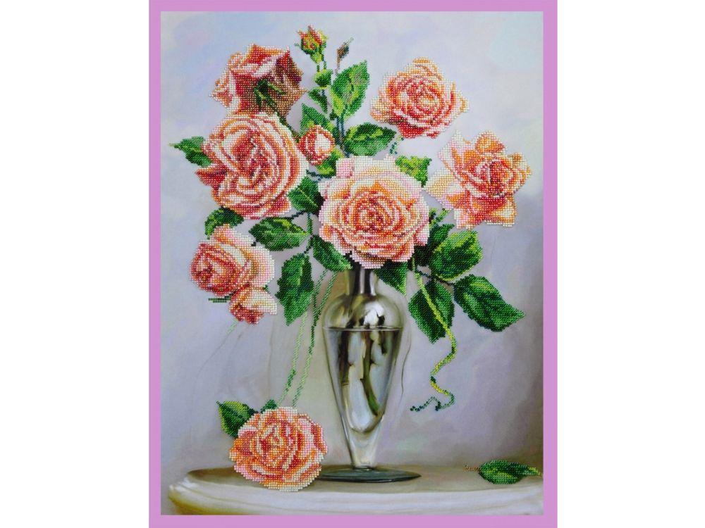 Купить Вышивка бисером, Набор для вышивания бисером «Розы на мраморном столике», Картины Бисером, 35x47 см, Р-248
