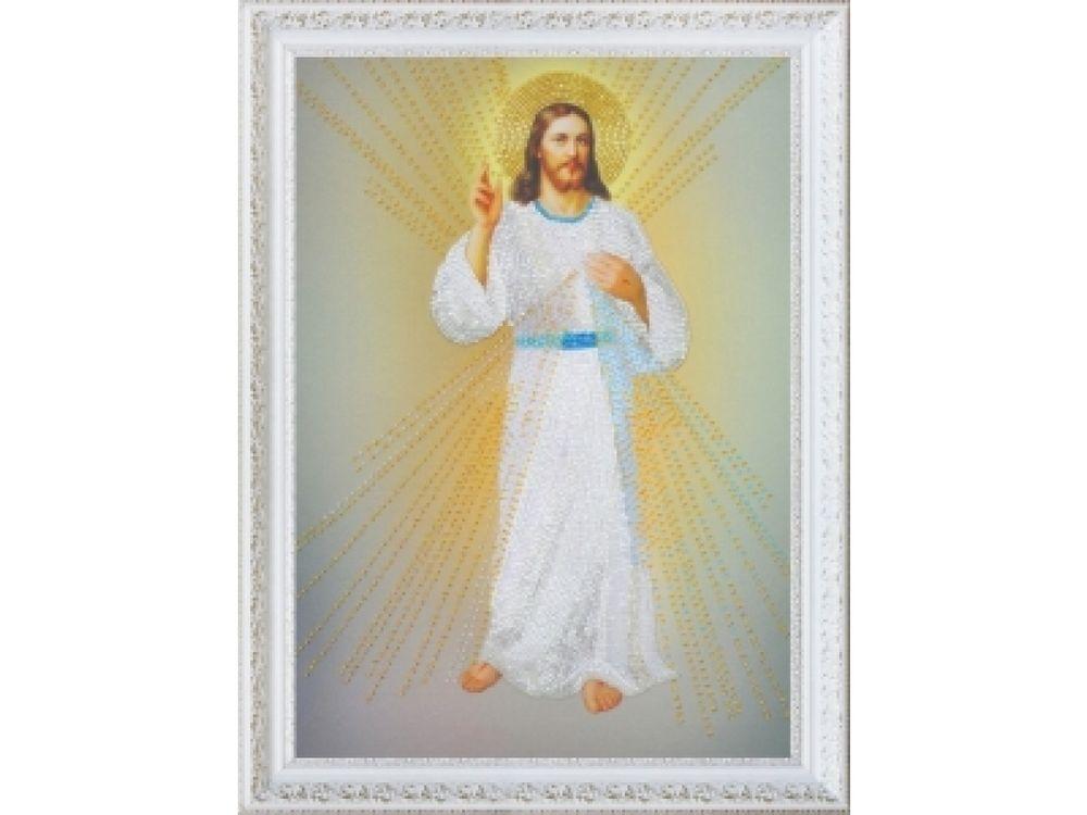 Купить Вышивка бисером, Набор для вышивания бисером «Иисус, уповаю на Тебя», Картины Бисером, 25x37 см, Р-307