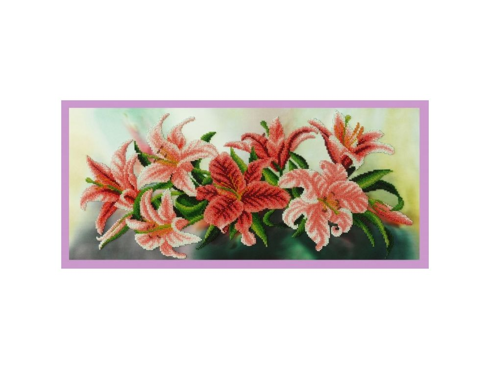 Купить Вышивка бисером, Набор для вышивания бисером «Лилии», Картины Бисером, 55x24, 5 см, Р-320