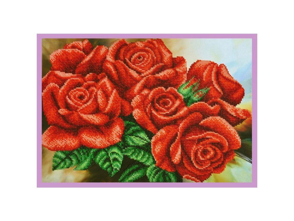Купить Вышивка бисером, Набор для вышивания бисером «Красные розы», Картины Бисером, 37x25 см, Р-295