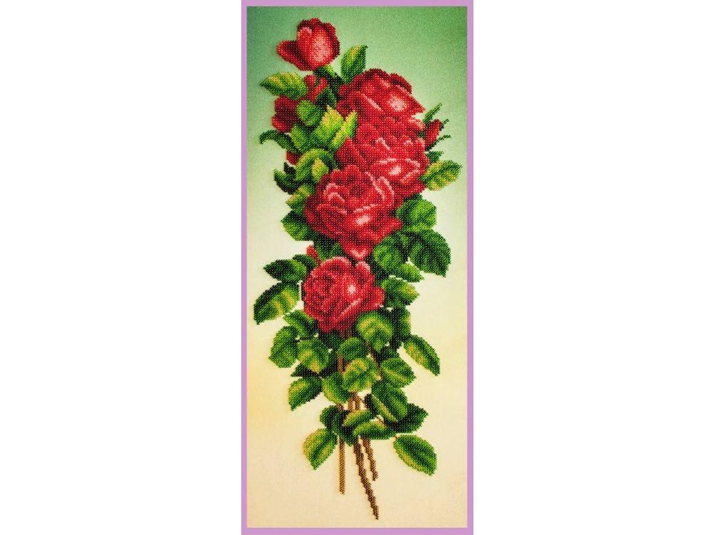 Купить Вышивка бисером, Набор для вышивания бисером «Букет красных роз», Картины Бисером, 20x48, 5 см, Р-348