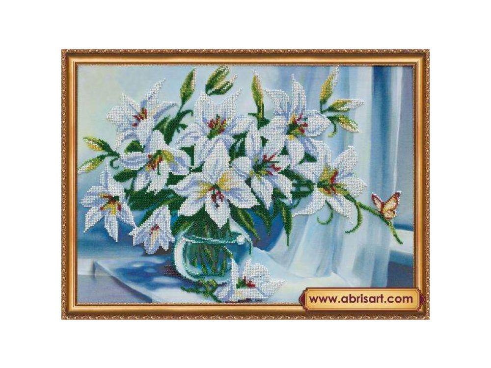 Купить Вышивка бисером, Набор вышивки бисером «Белые лилии», Абрис Арт, 45x32 см, AB-335