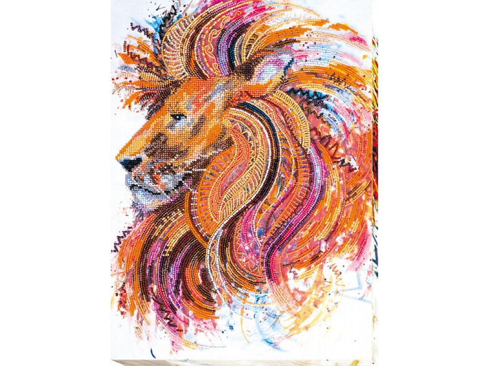 Купить Вышивка бисером, Набор вышивки бисером «Огнегривый лев», Абрис Арт, 30x40 см, AB-555