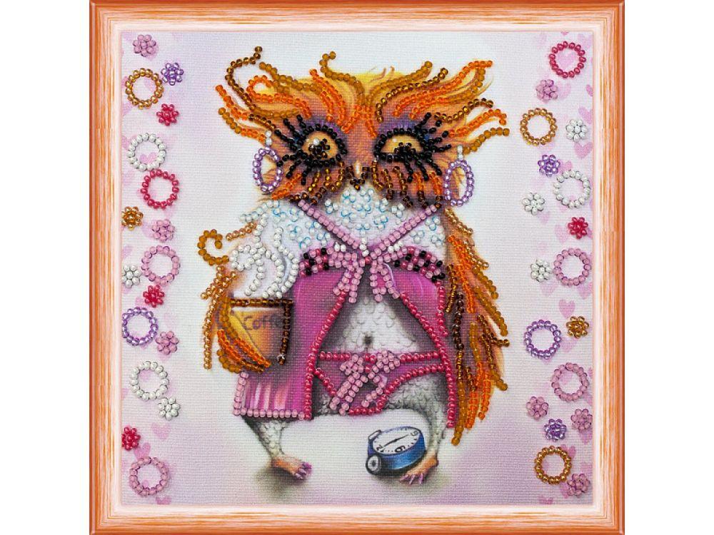 Купить Вышивка бисером, Набор вышивки бисером «Сова с чашкой кофе», Абрис Арт, 15x15 см, AM-104