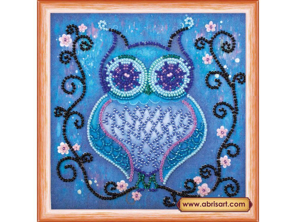 Купить Вышивка бисером, Набор вышивки бисером «Синяя сова», Абрис Арт, 15x15 см, AM-105