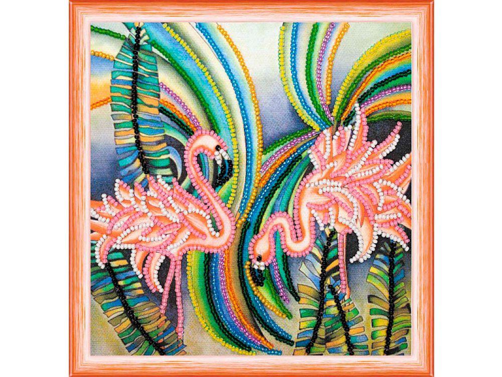 Купить Вышивка бисером, Набор вышивки бисером «Розовые фламинго», Абрис Арт, 15x15 см, AM-148