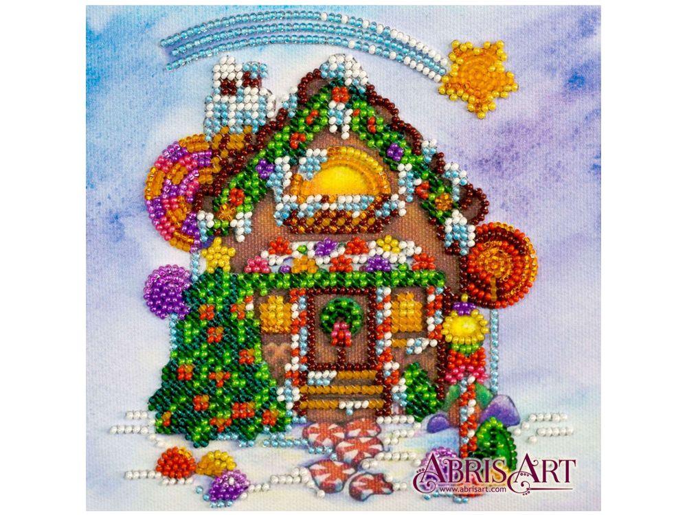Купить Вышивка бисером, Набор вышивки бисером «Пряничный домик», Абрис Арт, 15x15 см, AM-174