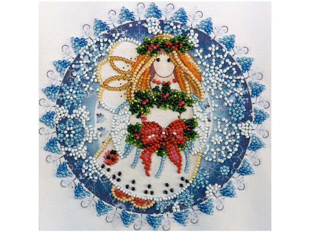 Купить Вышивка бисером, Набор вышивки бисером «Рождественский ангел», Абрис Арт, 15x15 см, AM-184