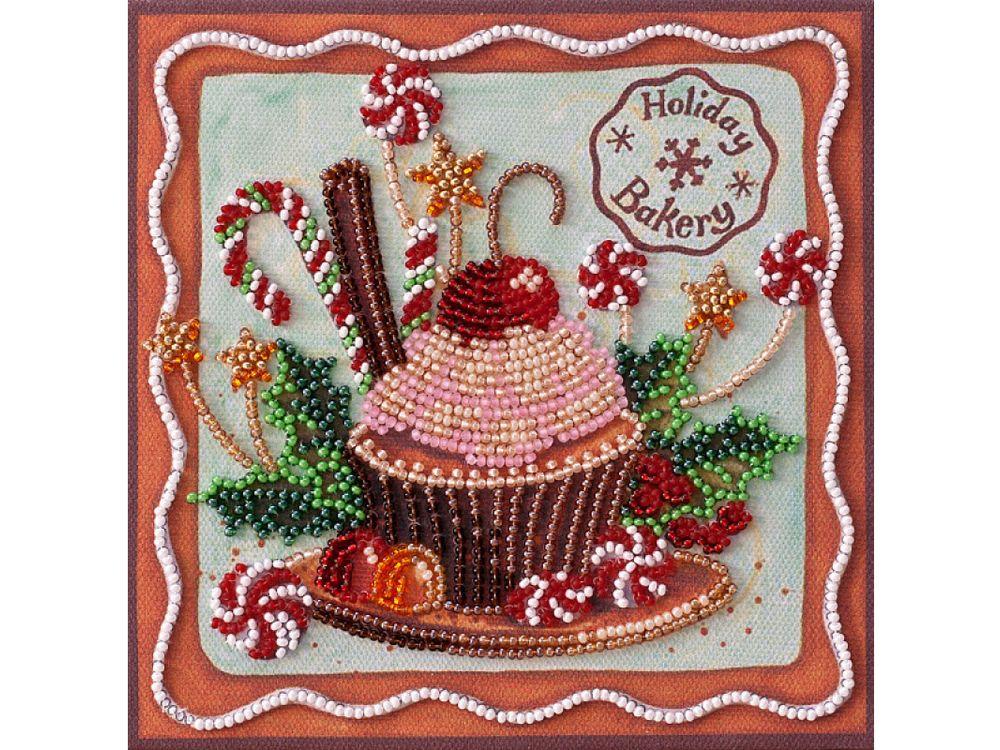 Купить Вышивка бисером, Набор-мини вышивки бисером «Праздничные сладости», Абрис Арт, 15x15 см, AM-198