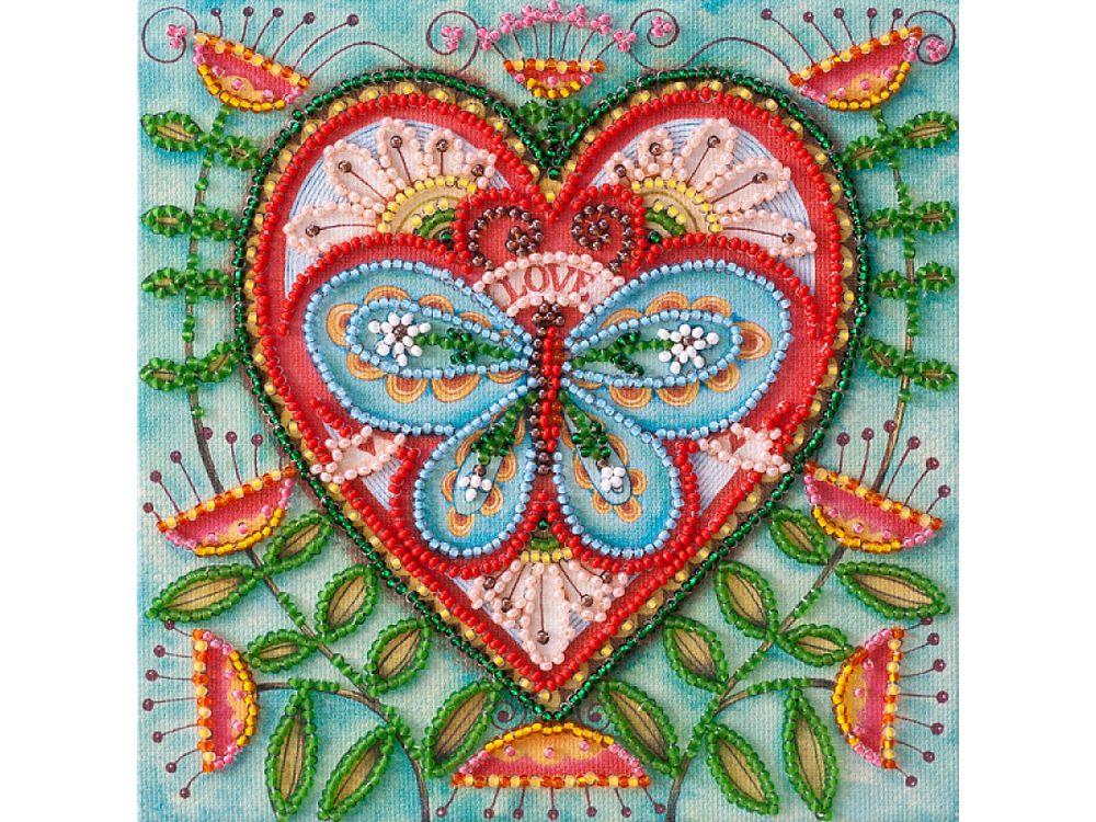 Купить Вышивка бисером, Набор-мини вышивки бисером «Летнее сердечко», Абрис Арт, 15x15 см, AM-204