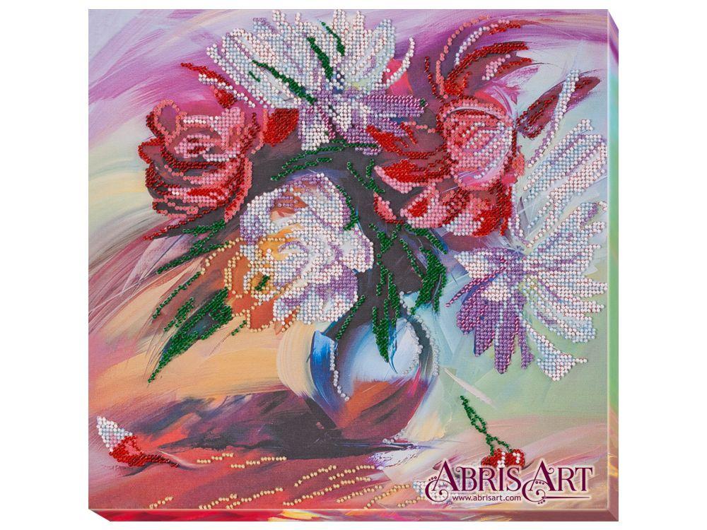 Купить Вышивка бисером, Набор вышивки бисером «Живописные пионы», Абрис Арт, 30x30 см, AB-660