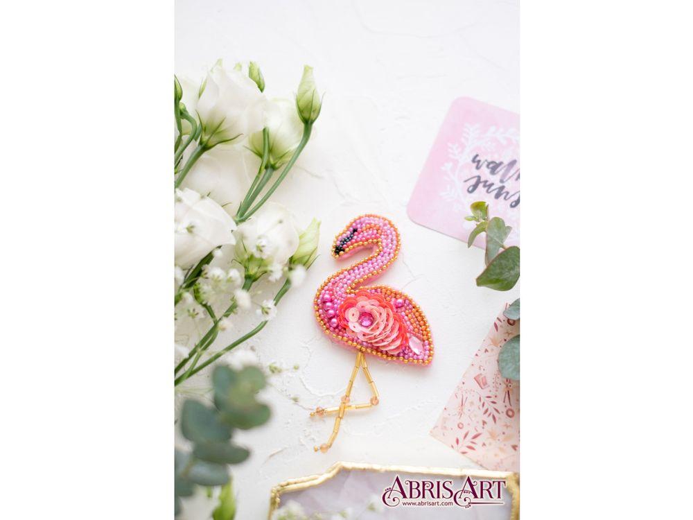 Купить Вышивка бисером, Набор вышивки бисером «Фламинго», Абрис Арт, 6x6 см, AD-046