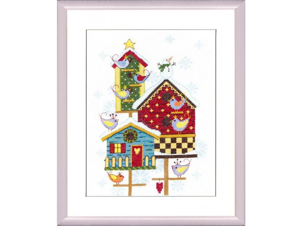 Купить Набор для вышивания «Скворечники зимой», Crystal Art, ВТ-135