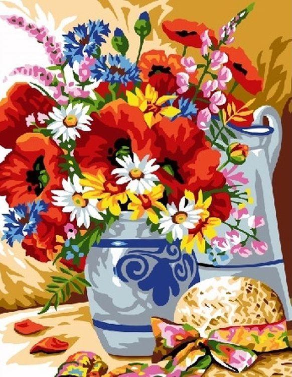 Купить Картина по номерам «Цветы в вазе на столе», Paintboy (Premium), EX6108