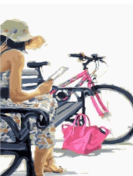 Купить Картина по номерам «Девушка с велосипедом», Paintboy (Premium), GX23619