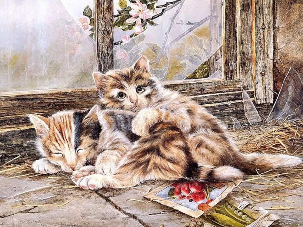Вытынанка, два кота картинки рисованные