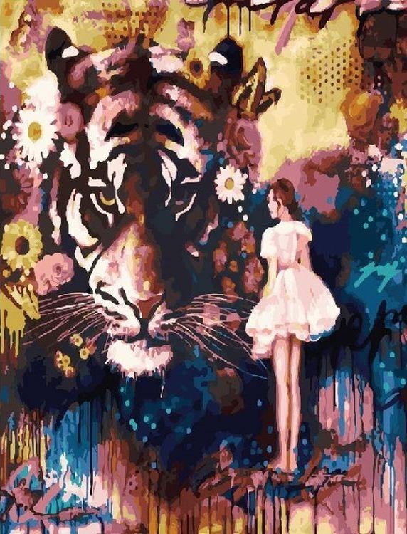 Купить Картина по номерам «Тигр и девушка», Paintboy (Premium), GX25370
