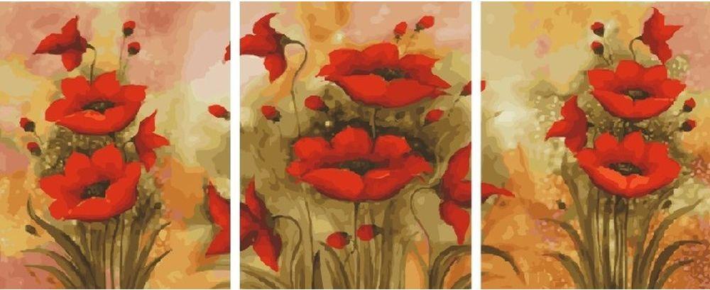 Купить Картина по номерам «Маки», Paintboy (Premium), 3 шт. 40x50 см, KX-0074