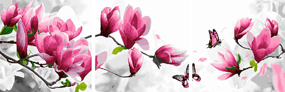 Купить Картина по номерам «Воздушные цветы», Paintboy (Premium), Китай, 3 шт. 50x50 см, PX5184